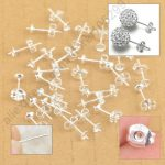 JEXXI Wholesale 100PCS Lot 925 <b>Sterling</b> <b>Silver</b> Jewelry Findings Ear Pin Pairs Stud <b>Earrings</b> With 925 BACK STOPPERS