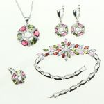 Multicolor Created Multigem 925 <b>Sterling</b> <b>Silver</b> Jewelry Sets For Women Wedding Necklace/Earrings/<b>Ring</b>/Pendant/Bracelet Free Box