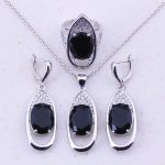 Awesome Black Imitation Crystal & AAA CZ 925 <b>Sterling</b> <b>Silver</b> Jewelry Sets For Women Trendy Fashion Jewelry Free Gift Box J0016