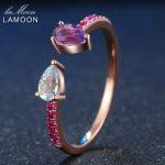 LAMOON Natural Amethyst 925 <b>Sterling</b> <b>Silver</b> Opening <b>Rings</b> Rose Color S925 Gemstone Fine Jewelry Women Wedding <b>Ring</b>