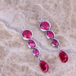 Exquisite Red Cubic Zirconia 925 <b>Sterling</b> <b>Silver</b> Drop Dangle <b>Earrings</b> For Women S0210
