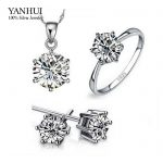 100% Real 925 <b>Sterling</b> <b>Silver</b> Bridal Jewelry Sets For Women Luxury 6mm CZ Diamant Wedding Jewelry Sets African Accessories S1263