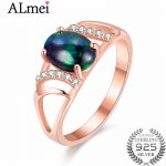 Almei 1ct Black Opal Beads Rose Gold Color Filigree <b>Rings</b> <b>Silver</b> 925 Hollow Costume Jewelry Women Anel Feminino with Box CJ030