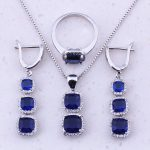 Magnificent Blue Created Crystal 925 <b>Sterling</b> <b>Silver</b> Square Jewelry Sets For Women Party Fashion Jewelry Free Gift Box J0044