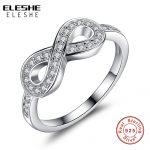 ELESHE 925 <b>Sterling</b> <b>Silver</b> 8-Shaped Bowknot Finger <b>Rings</b> With Micro CZ Crystal Brand Infinity <b>Rings</b> for Women Wedding Jewelry