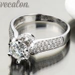 Vecalon Luxury <b>ring</b> wedding Band <b>ring</b> for women 1.5ct 5A Zircon cz <b>ring</b> 925 <b>Sterling</b> <b>Silver</b> Female Engagement Finger <b>ring</b>