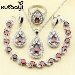 Distinctive Red Created Garnet 4PCS Jewelry Set 925 <b>Sterling</b> <b>Silver</b> Earrings <b>Ring</b> Necklace Pendant Bracelet Christmas gift