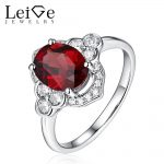 Leige Jewelry Red Gemstone Natural Garnet <b>Ring</b> <b>Sterling</b> <b>Silver</b> 925 for Women Oval Cut Wedding Promise <b>Rings</b> Anniversary Gift