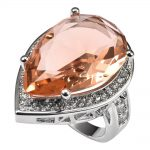 Huge Morganite With Multi White Crystal Zircon 925 <b>Sterling</b> <b>Silver</b> <b>Ring</b> Factory price For Women Size 6 7 8 9 10 11 F1500