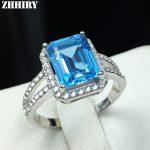 Natural Blue topaz gem <b>ring</b> genuine solid 925 <b>sterling</b> <b>silver</b> women gemstone <b>rings</b> fine jewelry