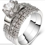 Size 4-12 Rhodium 925 <b>Sterling</b> <b>Silver</b> Wedding Engagement Halo Cocktail <b>Ring</b> Band Pair Set Bridal Propose Cluster Solitaire