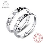 Wholesale Fashion 925 <b>Sterling</b> <b>Silver</b> <b>Rings</b> Open Resizable Love Printed Lover Set <b>Rings</b> For Couples Women/Men Jewelry