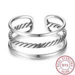 Women 925 <b>Sterling</b> <b>Silver</b> <b>Rings</b> Open <b>Rings</b> Adjustable Finger 3 Layers Trendy Vintage Style Jewelry Gift for Girls (RI102700)