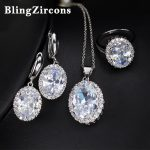 BlingZircons Noble Women Large Full Stone Setting Earring Necklace <b>Ring</b> Set AAA Cubic Zirconia 925 <b>Sterling</b> <b>Silver</b> Jewelry JS005