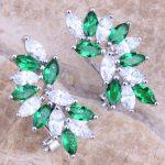 Green Cubic Zirconia White CZ 925 <b>Sterling</b> <b>Silver</b> Clip Huggie <b>Earrings</b> For Women S0237
