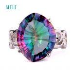 Mystic quarts <b>silver</b> <b>rings</b>, 14mm*17mm, for women fashion jewelry, popular style in fine jewelry