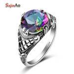 Szjinao bowknot Rainbow Topaz 925 <b>sterling</b> <b>silver</b> <b>rings</b> for women vintage boho Flower Full Finger <b>Ring</b> Fine Jewelry