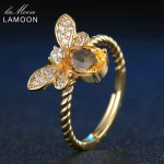LAMOON Women <b>Rings</b> 925 <b>Sterling</b> <b>Silver</b> Fine Jewelry Animal Bee 5x7mm 1ct Natural Oval Citrine Wedding <b>Ring</b> Fashion Anillos Mujer