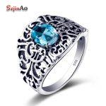 Szjinao WholeSale Woman <b>Ring</b> 925 <b>Sterling</b> <b>Silver</b> Sky Blue Rhinestone Female <b>Silver</b> <b>Ring</b> Finger Famous Jewelry Fine Jewelry