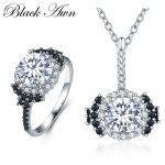 [BLACK AWN] 925 <b>Sterling</b> <b>Silver</b> Fine Jewelry Sets Trendy Engagement Necklace for Women Wedding <b>Ring</b> PR021