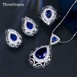 ThreeGraces CZ Jewelry Noble Design 925 <b>Sterling</b> <b>Silver</b> Royal Blue Crystal Stone Necklace Pendant Fashion Sets For Women JS195