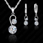 JEXXI Fine Pure 925 <b>Sterling</b> <b>Silver</b> Pendant Necklace + Lever Back <b>Earring</b> Sets, Two White Zircon Crystal Jewelry Set For Brides