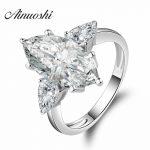 AINOUSHI Victoria Wieck Wholesale Three Stones <b>Rings</b> Marquise Cut Sona 925 <b>Sterling</b> <b>Silver</b> Wedding Band <b>Ring</b> Sz 4-10 Gift