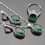 Noble Round Trendy Green Cubic Zirconia 925 <b>Sterling</b> <b>Silver</b> Earrings/Pendant/Necklace/<b>Rings</b> Jewelry Sets For Women