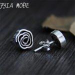 Fyla Mode Hot Sale Beautiful Rose Flower Design S925 <b>Sterling</b> <b>Silver</b> Stud <b>Earring</b> For Ladies 8.80mm 2.40g WTS010