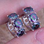 Captivating Rainbow Cubic Zirconia 925 <b>Sterling</b> <b>Silver</b> Huggie Hoop <b>Earrings</b> For Women S0232