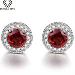Double-R Garnet stud Earrings natural Ruby Gemstone 925 <b>Sterling</b> <b>Silver</b> January Birthstone Hypoallergenic For Noble Ladies