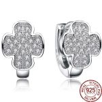 Aceworks Cross Shape 100% Real 925 <b>Sterling</b> <b>Silver</b> White Zirconia For Hoop <b>Earrings</b> Women Wedding Party Girl Jewelry Simple