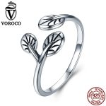 VOROCO Pure 100% 925 <b>Sterling</b> <b>Silver</b> Leaves Bud Adjustable Free Size Cuff Open Vintage <b>Rings</b> for Women Party Fine Jewelry VSR084