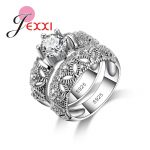 JEXXI Vintage Double <b>Rings</b> With Mask For Females 925 <b>Sterling</b> <b>Silver</b> Elegant Jewelry Big Round Shiny Accessories Wholesale