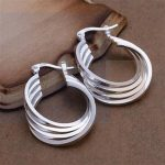 Fashion 925 <b>Sterling</b> <b>Silver</b> Women Round Hoop <b>Earrings</b> Women Female Ear Jewelry Wedding Party Gift Not Allergic