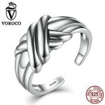 VOROCO Cross Braided Knot <b>Sterling</b> <b>Silver</b> 925 Ethnic Adjustable Open Cuff Stackable <b>Rings</b> Women & Lady Fine Jewelry VSR002