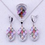 Fantastic Multicolor Created Multigem 925 <b>Sterling</b> <b>Silver</b> Jewelry Sets For Women Fashion Jewelry Free Gift Box J0013