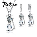 PATICO Austrian Crystal 925 <b>Sterling</b> <b>Silver</b> Jewelry Sets For Women Cute Cat Design Water Drop Crystal Pendant Necklace Set