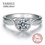 YANHUI Fine Jewelry 100% Solid 925 <b>Sterling</b> <b>Silver</b> <b>Ring</b> Inlay 1 Carat CZ Diamant Engagement Wedding <b>Rings</b> For Women JZR024