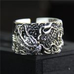 925 <b>sterling</b> Thai <b>silver</b> vintage open size adjustable <b>ring</b> men's jewelry carved dragon finger <b>ring</b>