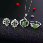 LANZYO 925 <b>sterling</b> <b>silver</b> natuarl green Jasper Jewelry Sets Fine Jewelry <b>Ring</b> Necklace Pendant Earring Women Bridal tz002agby