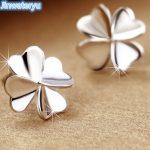 Jinwateryu 925 <b>sterling</b> <b>Silver</b> Stud <b>Earrings</b> Clover <b>earrings</b> for women pure <b>silver</b> fine Jewelry white colour <b>earrings</b> for girls