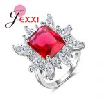 JEXXI Trendy Big Red Rectangle Crystal Flower Design with Mircro CZ Stone <b>Rings</b> 925 <b>sterling</b> <b>silver</b> jewelry for Women Gift