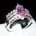 choucong Jewelry Fashion 925 <b>Sterling</b> <b>Silver</b> Marquise Cut Pink 5a Zircon Stone <b>Ring</b> Wedding Bands <b>rings</b> for Women Size 5-11 gift