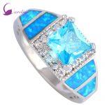 Fashion Wedding <b>rings</b> Sky Blue Cubic Zirconia Women's <b>rings</b> Blue Fire Opal 925 <b>Sterling</b> <b>Silver</b> Overlay size 5 6 7 8 8.5 R508