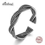 Shineland 2017 Unisex Twisted Leaves Open <b>Rings</b> 925 <b>Sterling</b> <b>Silver</b> Simple Spiral <b>Rings</b> for Women Fashion Ancient <b>Silver</b> Jewelry
