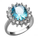 Blue White Crystal Zircon 925 <b>Sterling</b> <b>Silver</b> <b>Ring</b> For Women Size 6 7 8 9 10 F1450
