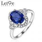 Leige Jewelry Blue Sapphire <b>Ring</b> Sliver 925 Oval Cut Prong Setting Women Wedding Promise <b>Rings</b> Anniversary Gift Fine Jewelry