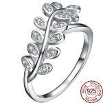 Aceworks Plant Leaves Shape 100% Real 925 <b>Sterling</b> <b>Silver</b> Solid Zirconia <b>Rings</b> Women Porm Girl Elegant Brand Jewelry Bohemia