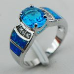 Blue Crystal Zircon Blue Opal 925 <b>Sterling</b> <b>Silver</b> <b>Ring</b> Size 6 7 8 9 10 R1250